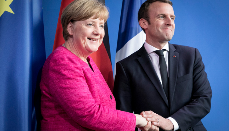France's President Emmanuel Macron and German Chancellor Angela Merkel